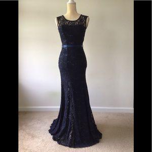 B. Darlin Navy Lace Mermaid Gown